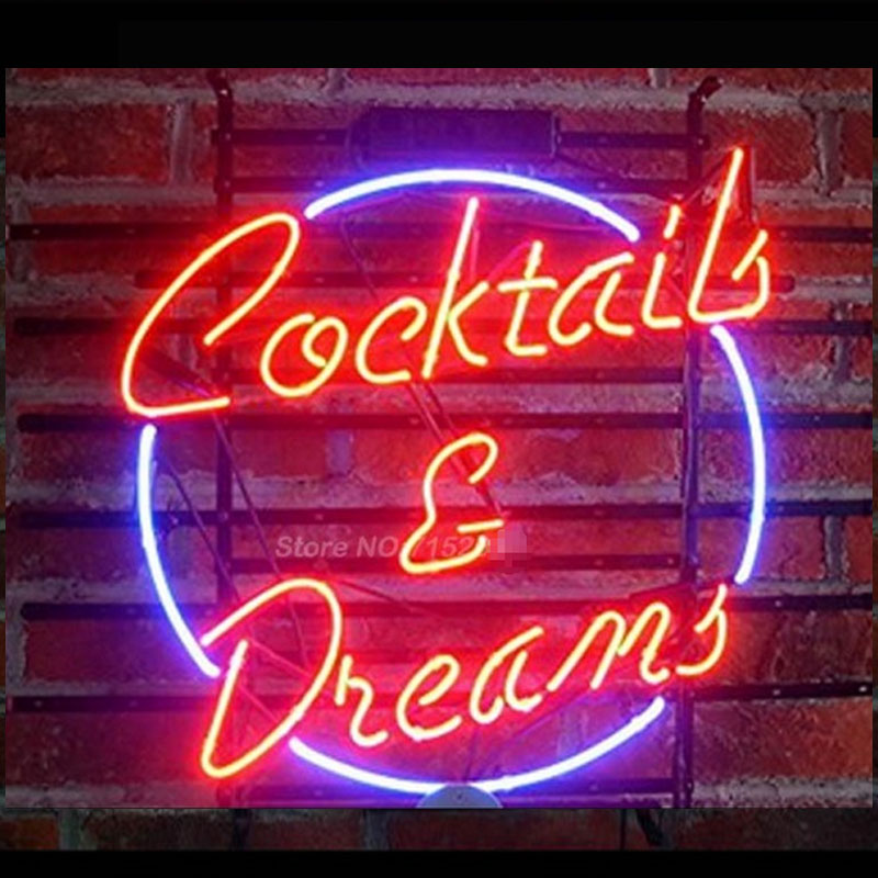 Cocktails Dreams Sign Neon Light Sign Neon Bulb Store Display Real Glass Tube Quality Guarantee Handcraft Fashion Gifts VD 17x14