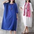 De boa qualidade estilo étnico mulher grávida dress cotton linen primavera outono solto roupas de maternidade gravidez longo dress ce333