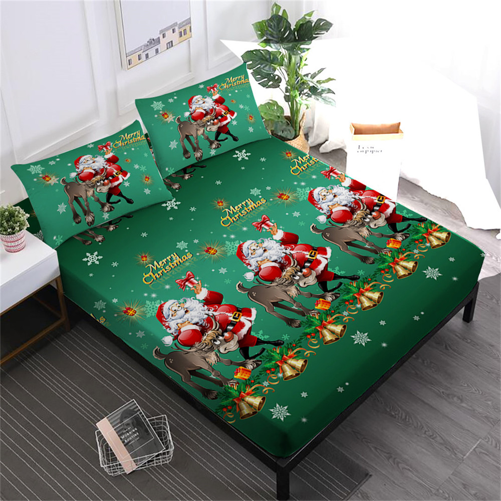 Merry Christmas Bed Sheets Set Green Santa Claus Deer Print Fitted Sheet King Queen Bed Linens Pillowcase Soft Bedclothes D20Merry Christmas Bed Sheets Set Green Santa Claus Deer Print Fitted Sheet King Queen Bed Linens Pillowcase Soft Bedclothes D20