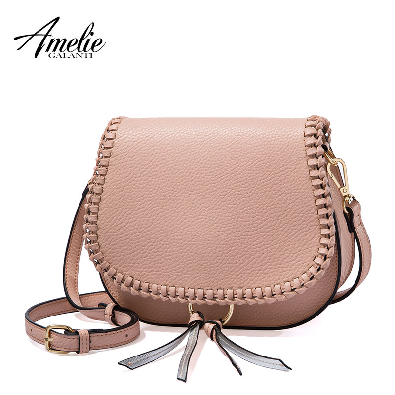 AMELIE GALANTI Women Shoulder Bag with Tassel Small Flap Crossbody Bag with Weave Classical Design leisure women s crossbody bag with splicing and color block design