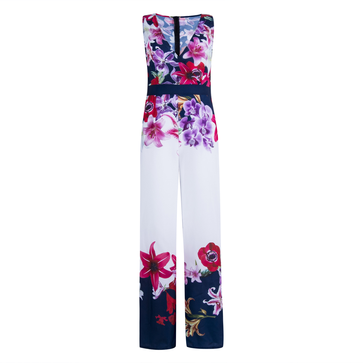 New Women Playsuit Sexy V-neck Floral Jumpsuit Sexy Lady Clubwear Flower Summer Playsuit Wide Leg Party Jumpsuit Romper #2