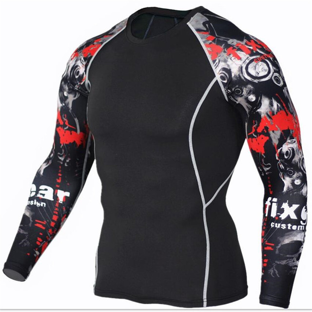 Men's Fitness 3D Prints Long Sleeves T Shirt Men Bodybuilding Skin Tight Thermal Compression Shirts MMA Crossfit Workout Top Gear