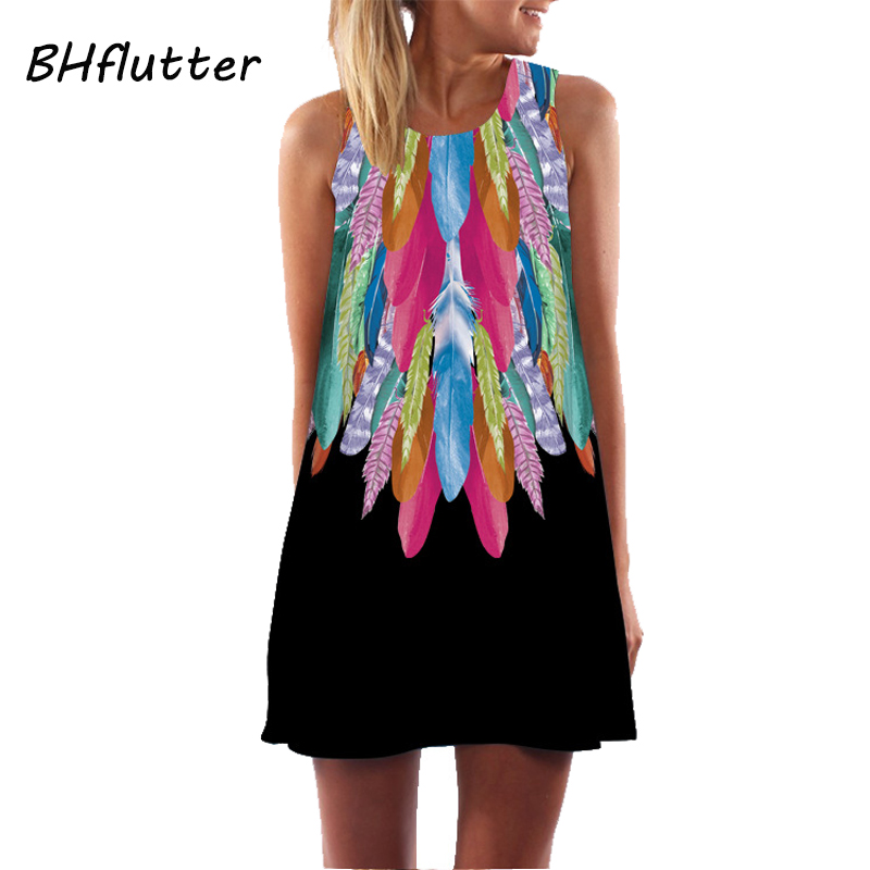 BHflutter Women Dresses Digital Print Summer Dress 2017 New Fashion Boho Style Beach Dress Dashiki Hippie Dress Mini Vestidos