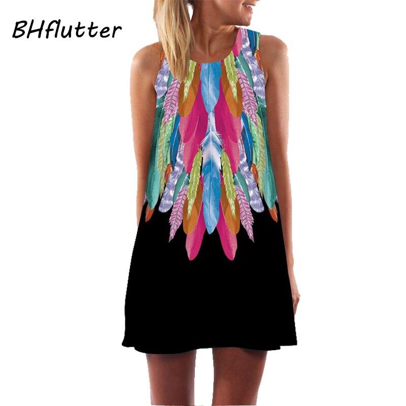 Bhflutter vestidos femininos impressão digital vestido de verão 2017 nova moda boho estilo praia vestido dashiki hippie mini vestidos