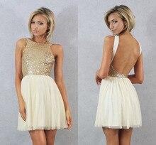 Charmming 2015 Sıcak Moda Kısa Balo Elbise Üst Şampanya Altın Sequins ile Şifon Gelinlik Modelleri