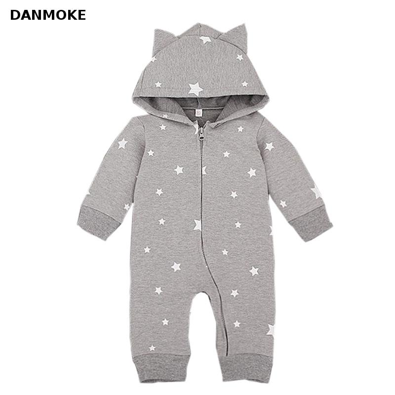 Danmoke Autumn Cartoon Star Hooded Baby Rompers Newborn Clothing Cotton Long Sleeve Jumpsuits Boys Girls Outerwear Costume cotton baby rompers set newborn clothes baby clothing boys girls cartoon jumpsuits long sleeve overalls coveralls autumn winter