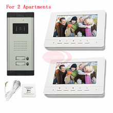 Discount! For 2 Apartments Color 7″ HD 700lines CCD Camera Video Door Phones Support Waterproof/Night Vision In Stock!