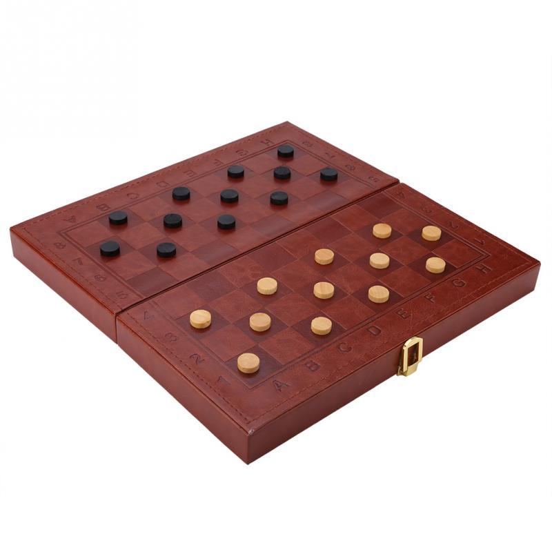 3 in 1 Portable Wooden Chess Checkers and Backgammon Board Game 2
