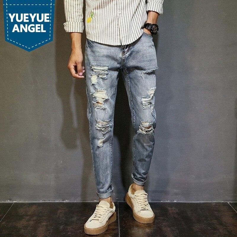 Cottn Longueur Streetwear Hip Nouveau 2018 Pleine Japon De Jeans Mode Style Jean 1 Solide Hop Printemps Difficulté Marque Hommes En Droite 6qaxxtO
