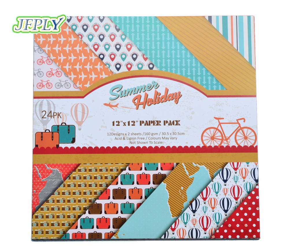 DIY Album Photo Scrapbooking set Papers Summer holiday Craft Paper 12X 12Single Side Printed 24sheet/pack image