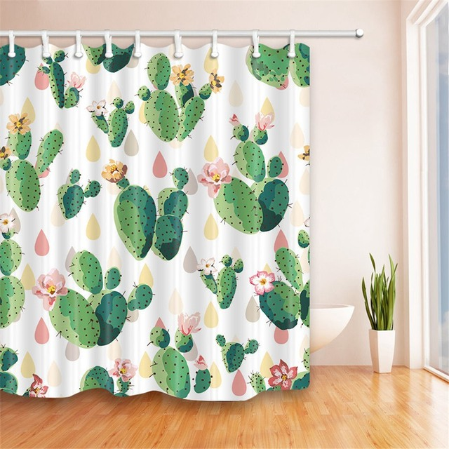 NEW!!!Cactus Flower Shower Curtain Bathroom Waterproof Polyester ...