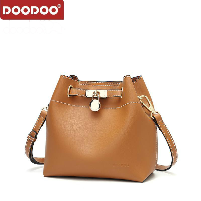 DOODOO Bags Handbags Women Famous Brands Tote Bucket Bag Female Shoulder Crossbody Bags Pu Leather Top-handle Bag Bolsa Feminina 2018 hot sale cow leather women handle bags crossbody bag car structure flap bags bolsa feminina shoulder crossbody small bag