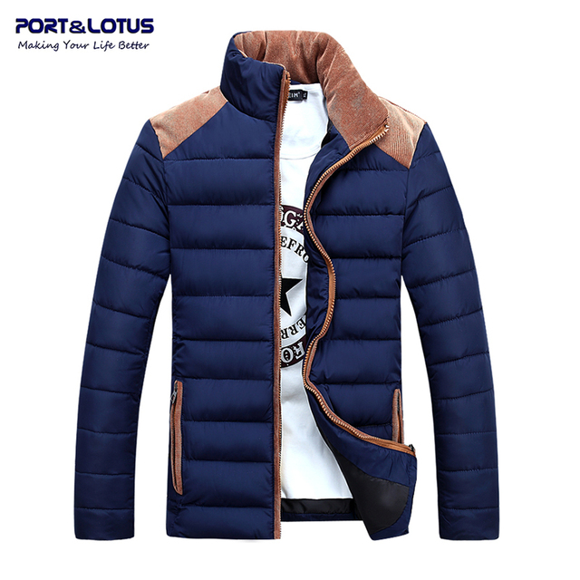 Port&Lotus Men Parka Mens Coat 2016 Brand Clothing Winter Jackets Mens Contrast Color Jackets Casual Patchwork 003 wholesale