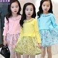 Vestido de primavera Para Las Niñas 2-12 Años Los Niños Pequeños Vestido Chino Flor de Algodón Vestidos Balón vestido de Menina Roupas Casual ropa de Tela