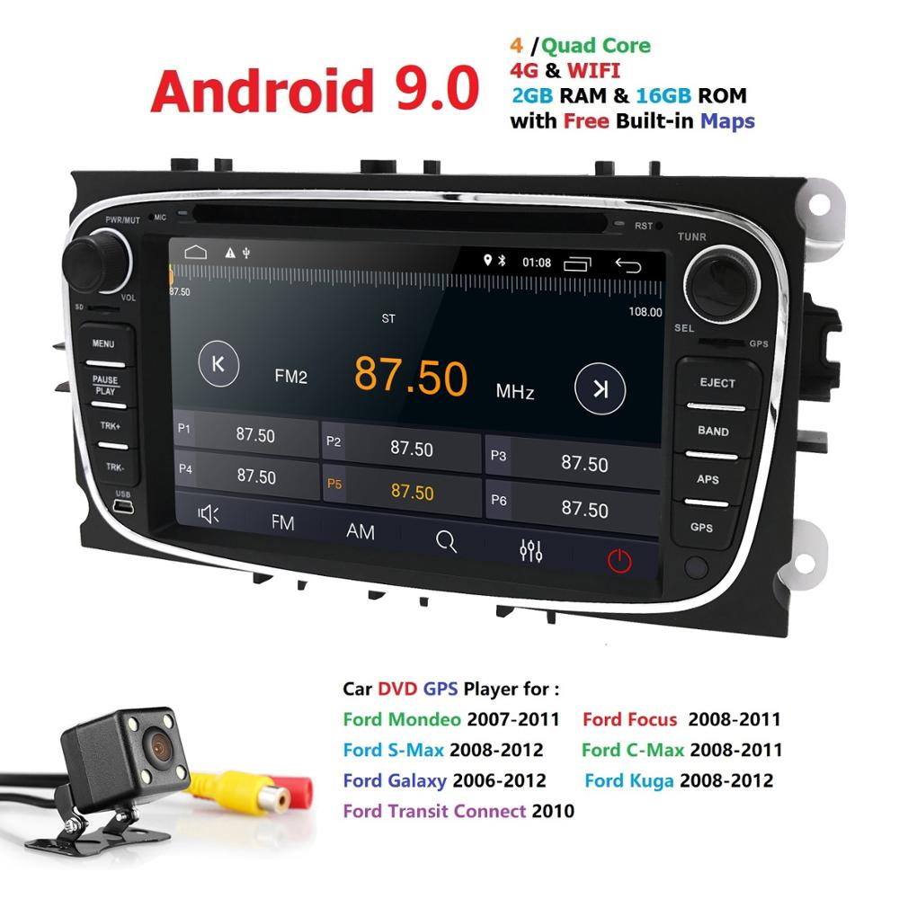 Ossuret Car Multimedia Player Android 9.0 GPS 2 Din car dvd player for FORD/Focus/S MAX/Mondeo/C MAX/Galaxy wifi car radio DAB+