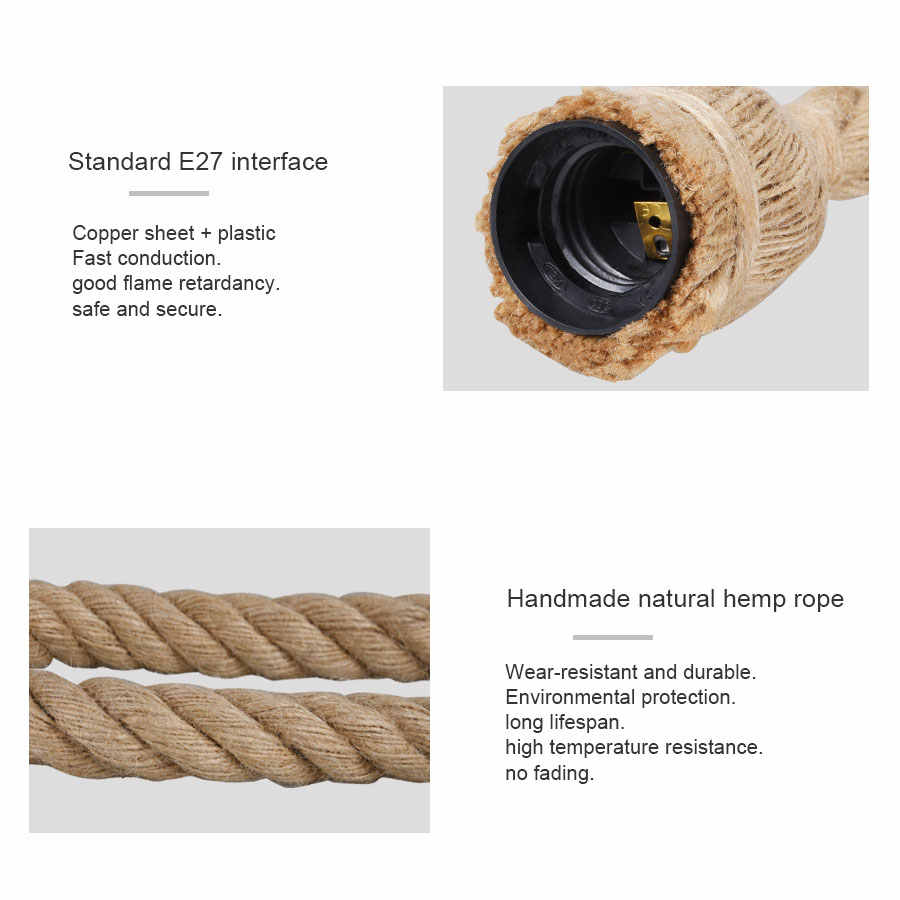 Hand Dwoven Hemp Rope Chandelier e27 Lamp Holder 20mm Bold Rope Copper Wire Lamp Base Creative Retro Bulb Holder For Restaurant
