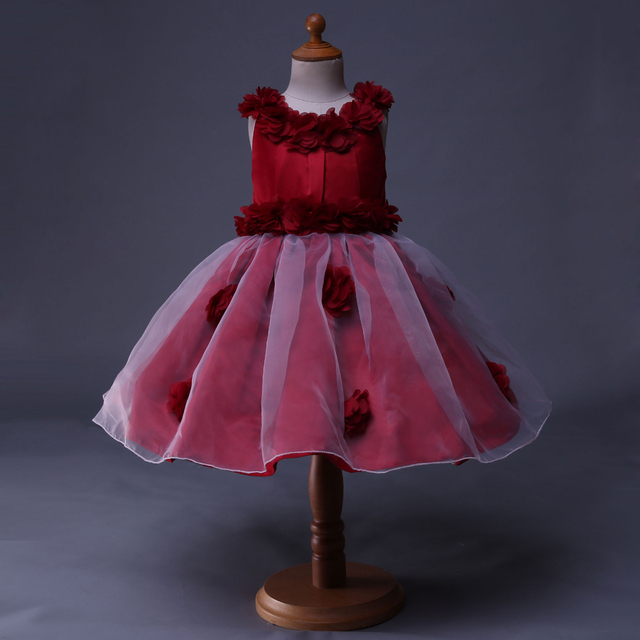 c7f47140aabb Cutestyles Top grade Baby Girls Dress Red Appliques Ball Gown White ...