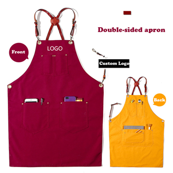 Double-sided Canvas Leather Hanging Neck Unisex Painting Hairdressing Storage Apron Barista Barber Chef Gardener Waiter Overalls