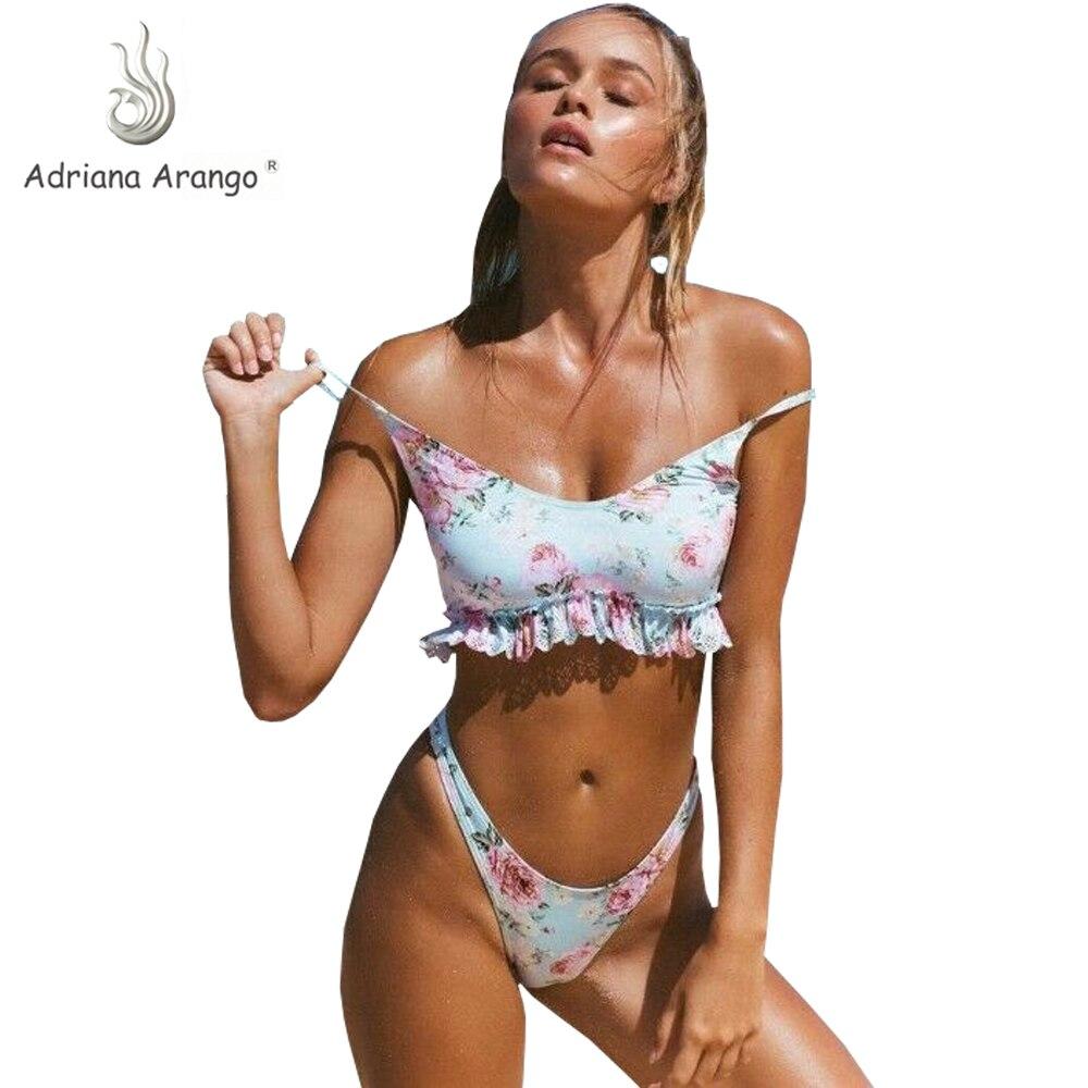 Adriana Arango 2019 Women Swimwear Ruffle Bikini Floral Swimsuit Sexy High Cut Biquini Summer Beach Wear Bathing SuitAdriana Arango 2019 Women Swimwear Ruffle Bikini Floral Swimsuit Sexy High Cut Biquini Summer Beach Wear Bathing Suit