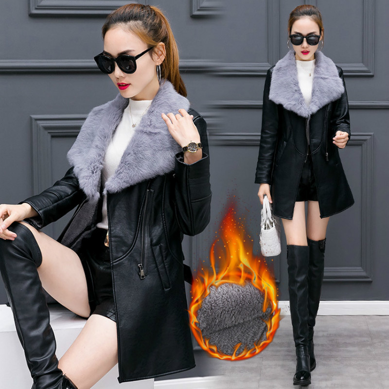 Jackt for pregnant Fur Collar Lady 's Long Leather Jacket Coat Female Winter Long Sleeve Suede Fur Jacket  Motorcycle Jacket lady s skullies womail delicate pregnant mothers soft velvet cap maternal prevention wind hat w7