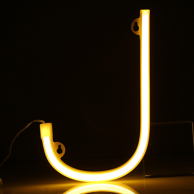 New LED Neon Night Light Sign 26 Letters Shape AA Battery