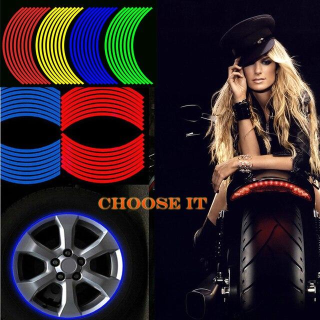 17/18 inç renkli moto rcycles tekerlek çıkartmalar yansıtıcı jant moto şerit bant honda CB500 CB600 CB750 CB900 CB1000 CB1300