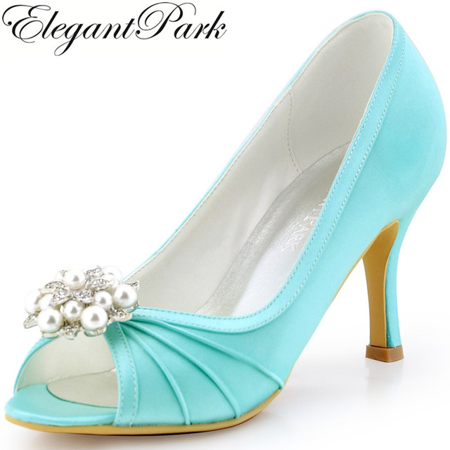 Woman Shoes Mint High Heel Evening Pumps Clips Satin Bridesmaid ...