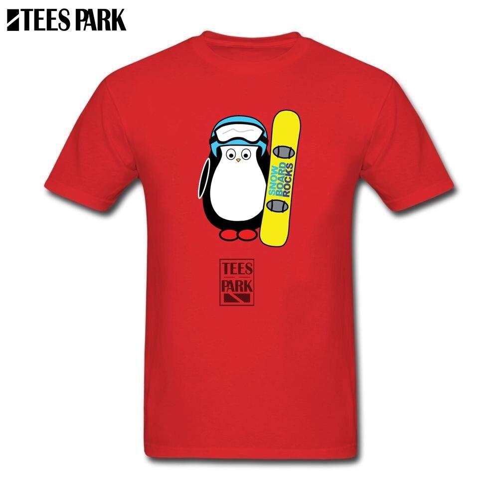 Hauts t-shirts hipster Hugo Snowboard Drôle Pingouin T-shirts Jeunes O Cou tee-shirt 2019 New Trendy Homme Grossiste T chemise plus la taille