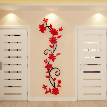 3D Acrylic Wall Sticker DIY Rose Flower Vine Wall Decals Mural Art Wallpaper Home TV Sofa Background Wall Poster Decoration 10