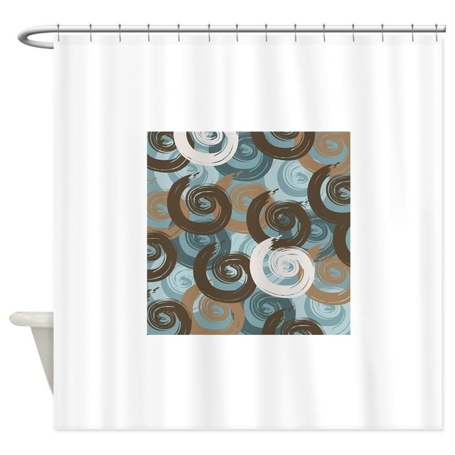 Abstract Curls Teal Brown Shower Curtain Decorative Fabric Set Non Slip Bath Mat