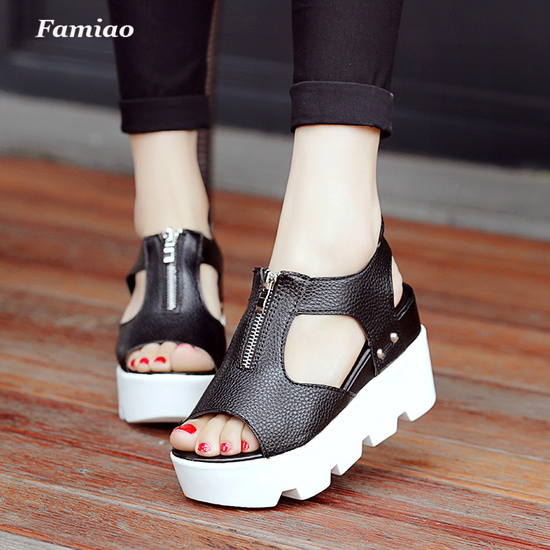 Women Platform Shoes Gladiator Woman Sandals Summer Hollow Out Weave Ladies Sandal Zip Waterproof Sapato Feminino phyanic 2017 gladiator sandals gold silver shoes woman summer platform wedges glitters creepers casual women shoes phy3323