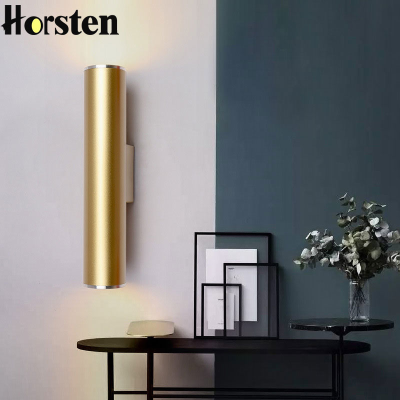 Northern Europe Wall Light Gold Tube Design Wall Lights LED Creative Gold Wall Lamp Loft Bedroom Corridor Bar Coffee Shop Light metaldesign md 736 02 11