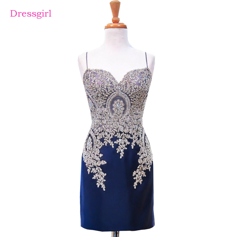 Royal Blue 2017 Elegant   Cocktail     Dresses   Sheath Spaghetti Straps Short Mini Beaded Lace Homecoming   Dresses