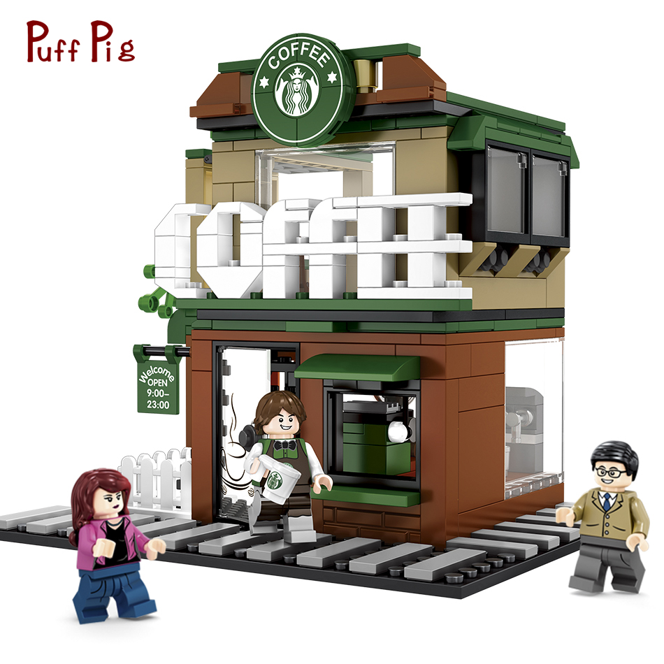 283pcs Mini City Street View Starbucks Coffee Shop Building Blocks Compatible Legoing DIY Creative Bricks Toys For Children Gift compatible lepin city mini street view building blocks chinatown satin silk store with saleman figures toys for children gift