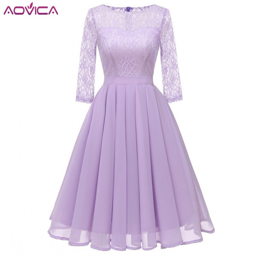 Aovica Christmas Women Vintage Elegant Laides Lace Dresses Formal Wedding Bridesmaid Casual Female Chiffon Dresses Robe Femme