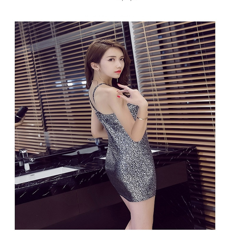 EIGHT UP European and American spring summer fashion gold silvery white dress
