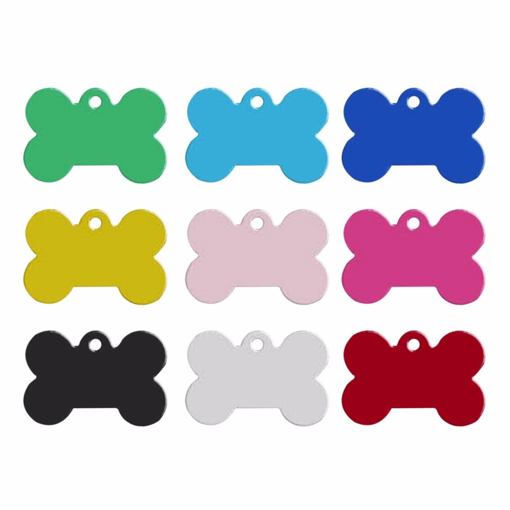 2pcs 38mm Aluminum Alloy Bone Shape Pet ID Tag Identification Personalized Pet Accessories Dog Cat ID Tag Pendant