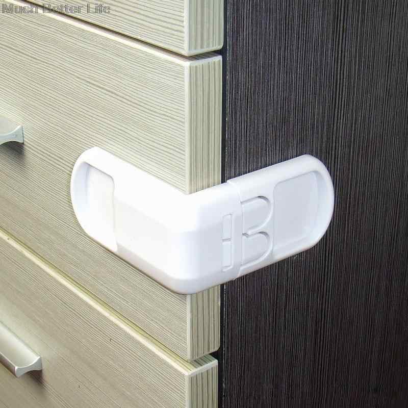 คุณภาพสูงสีขาว ABS เด็กทารกเด็กความปลอดภัยป้องกันลิ้นชักตู้ประตูขวามุมล็อคผลิตภัณฑ์รักษาความปลอดภัย