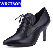 2017 NEW Women's Pumps Genuine leather Pointed toe High-heeled shoes Lady Sexy Thin Heels Lace-up High Heels Women Single shoes