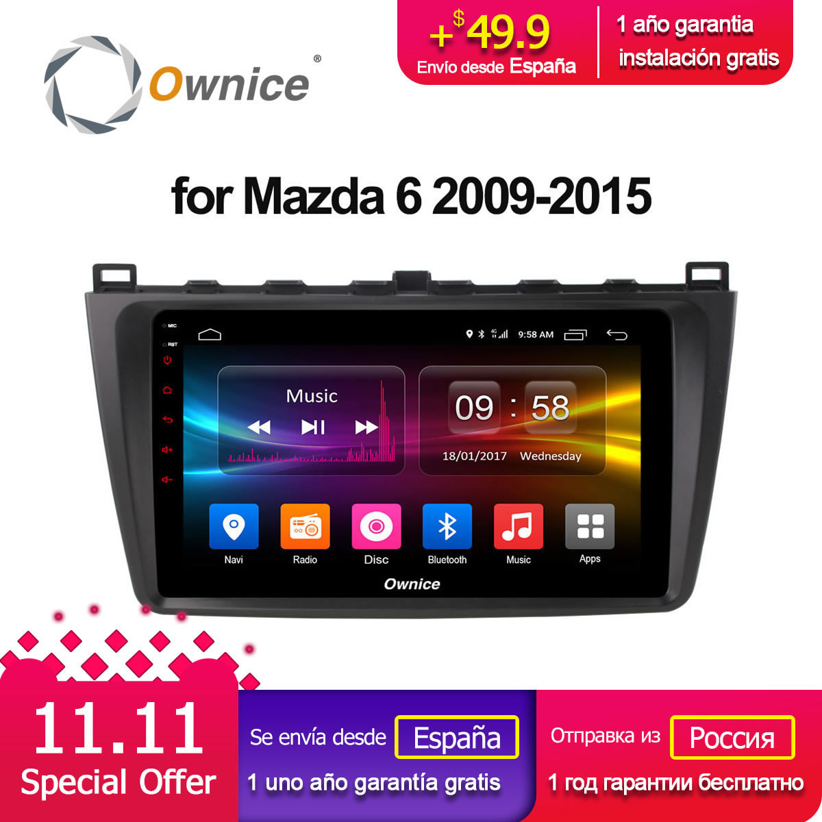 Ownice C500+ G10 Octa 8 Core Android 8.1 2G Car DVD GPS For Mazda 6 2009 - 2015 Autoradio Multimedia Audio Stereo 2G RAM 4G LTE ownice c500 g10 octa core 2gb ram 32g rom android car dvd 8 1 gps for mazda 6 summit 2009 2015 wifi 4g lte radio dab dvr