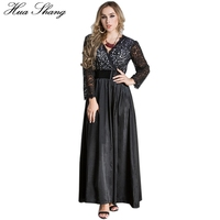 Spring Autumn Women Lace Dress Plus Size 5XL 6XL 7XL Hollow Out Floral Long Sleeve V
