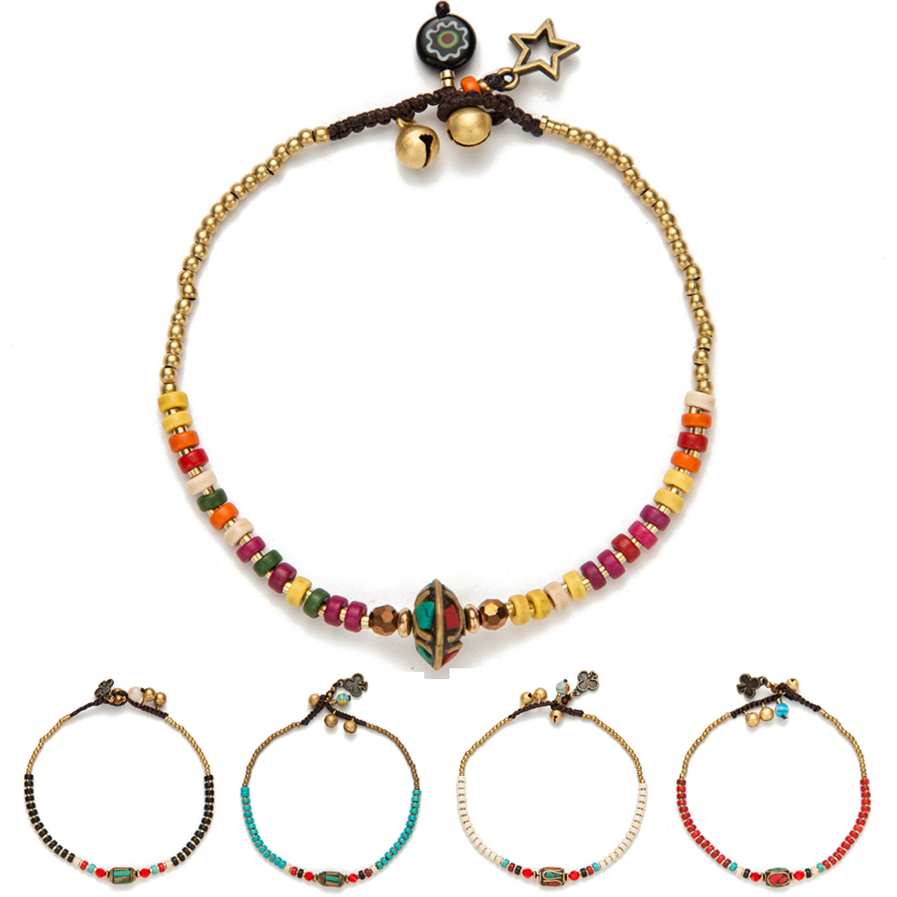 AMOURJOUX Handmade Tibetan Round Charm Leg Anklets For Women Color Small Beaded Chain Ankle Bracelet Anklet Foot Jewelry leaf shaped beaded detail chain bangle anklet