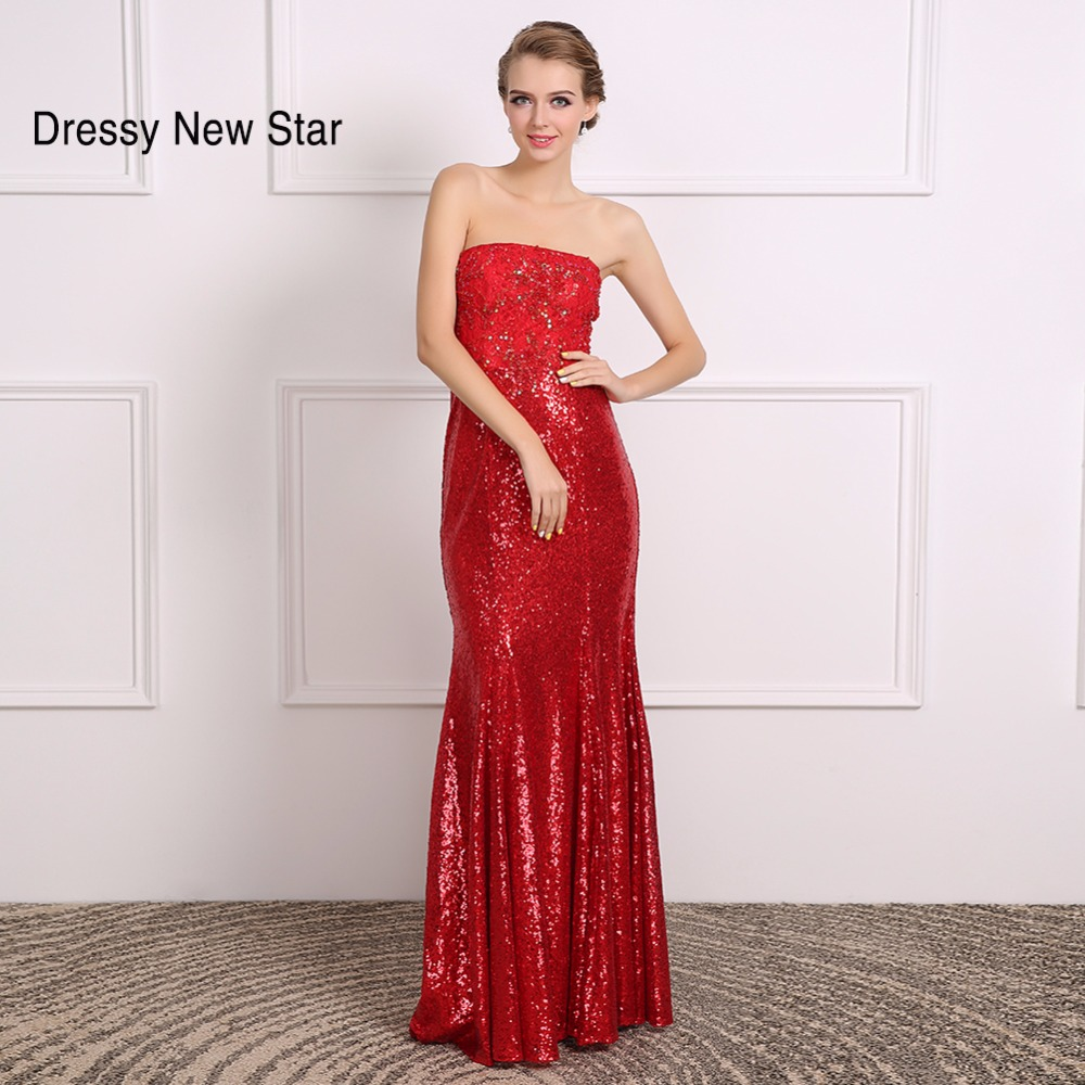 Strapless Red Sequin Dress Promotion-Shop for Promotional ...