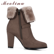 Meotina Winter Boots 2018 Fur Ankle Boots High Heels Boots Zip Brand Design Buckle Spring Thick Heel Women Shoes Big Size 34-43