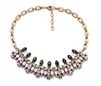 2014 New Simple Design Resin Tribal Necklace Elegant Party Stone Setting Pink Necklaces