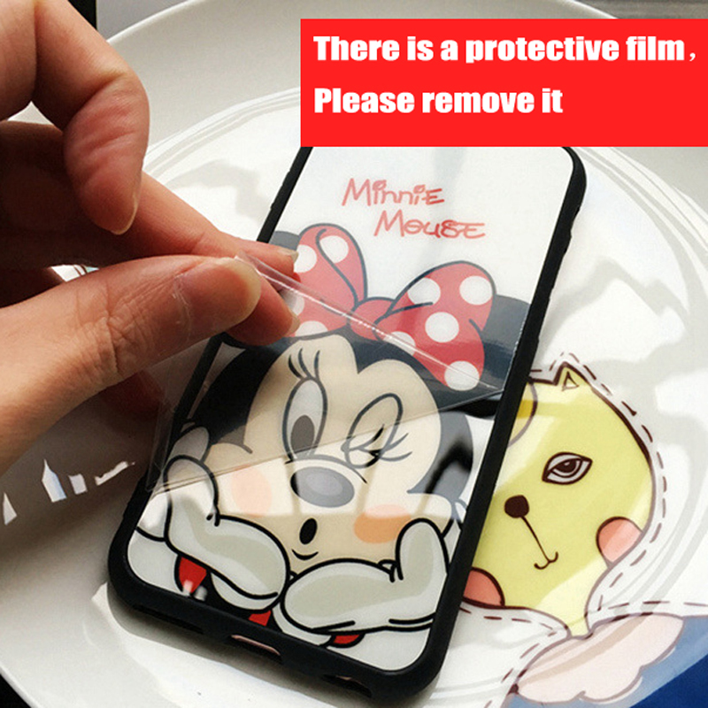 JAMULAR Cartoon Minnie Mickey Mouse Phone Case for iphone 7 6 6s 8 Plus Rubber Silicone Mirror Cover for iphone X 6s 5s SE Cases