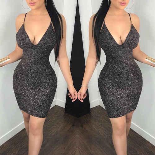 2019 נשים סקסי מתכתי Bodycon מבריק ערב המפלגה Clubwear עיפרון מועדון מיני שמלת Clubwear ללא משענת Vestido שמלה