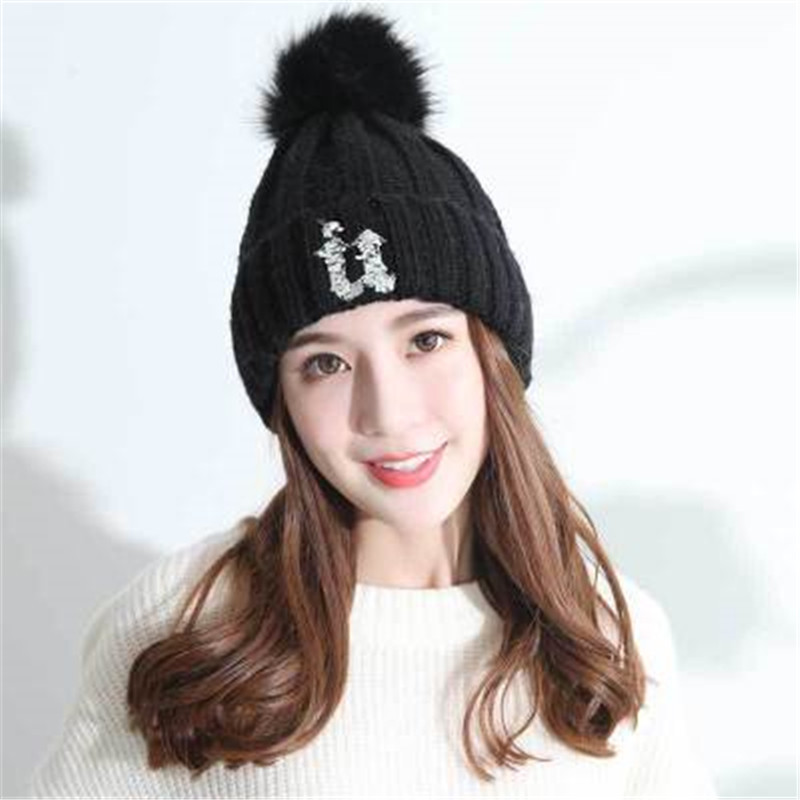 цены на mink and fox fur ball cap pom poms winter hat for women girl 's wool hat knitted cotton beanies cap brand new thick female cap