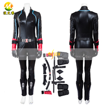 The Avengers Age of Ultron Black Widow Cosplay Costume Halloween Party Set Lether Jumpsuits for Women