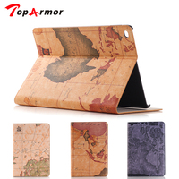 TopArmor Case For Apple IPad Air 2 IPad 6 World Map Magnetic Folio PU Smart Leather